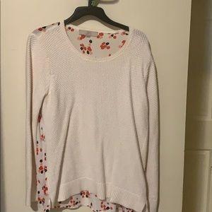 Loft white sweater, sheer back flower detail Large